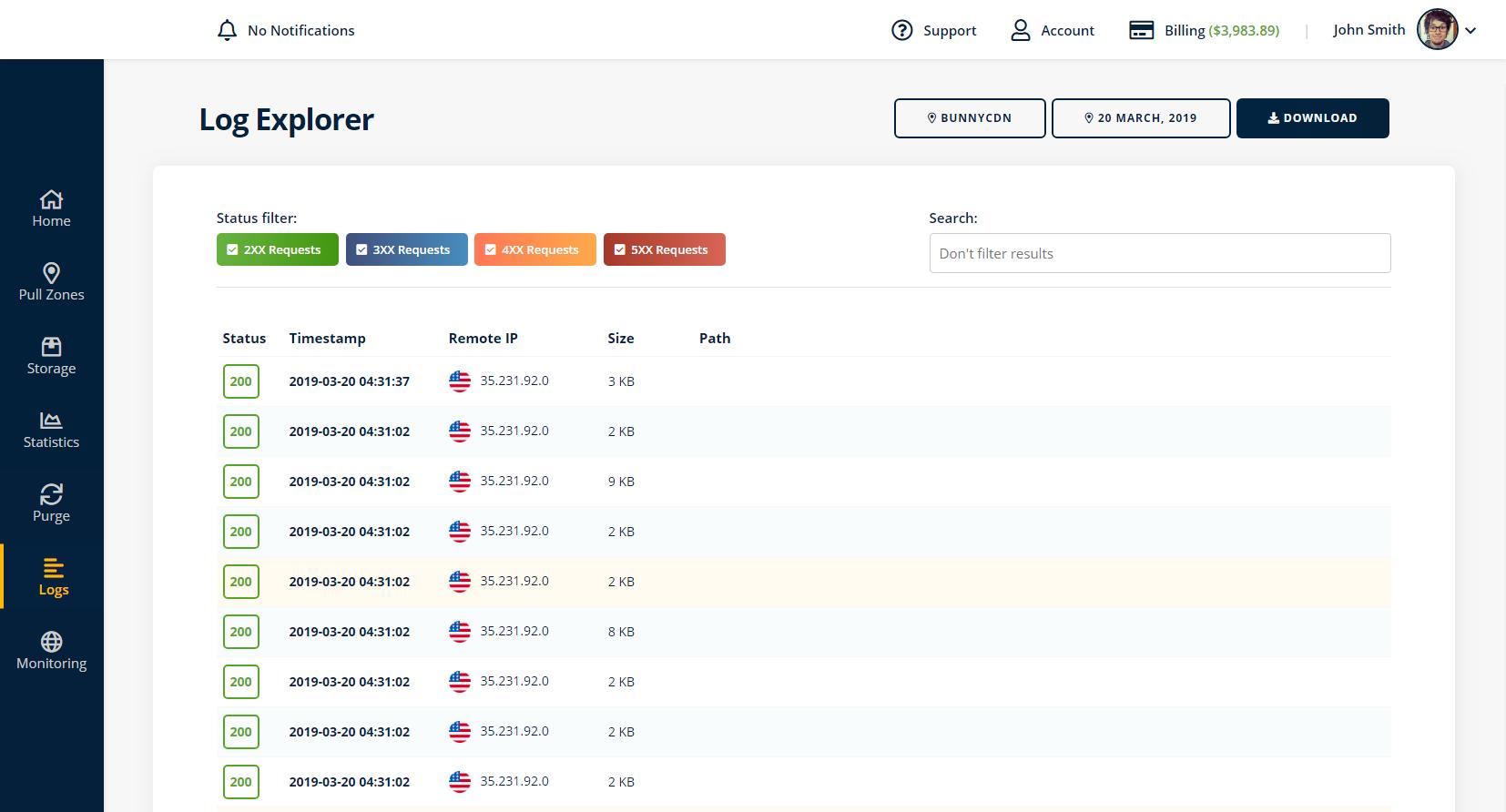Log Explorer Screenshot