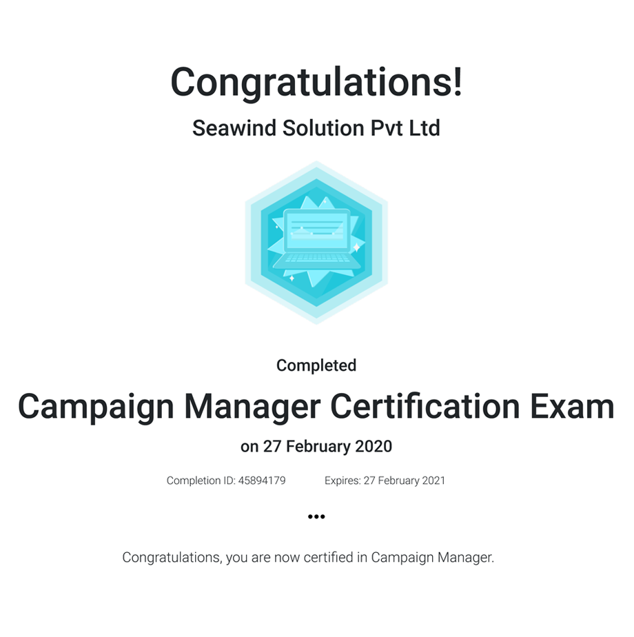 Campaign Manager Certifcation Exam