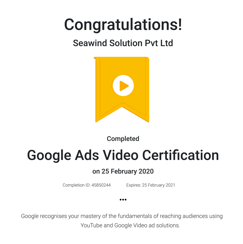Google Ads Video Certifcation