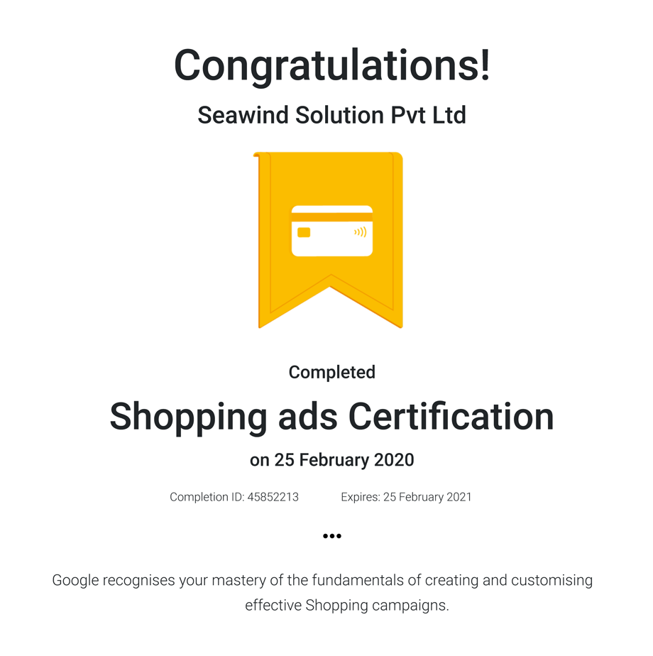 Shopping ads Certifcation